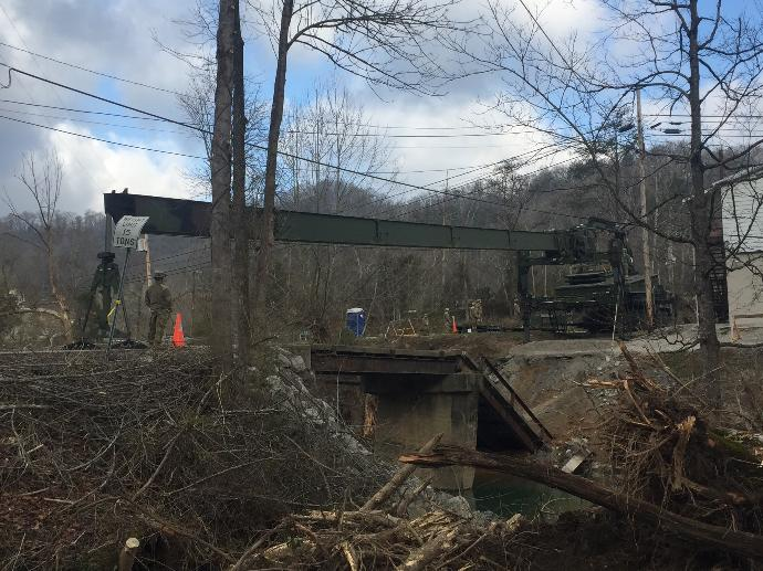 Temporary bridge installed by National Guard at Perkins Branch removed