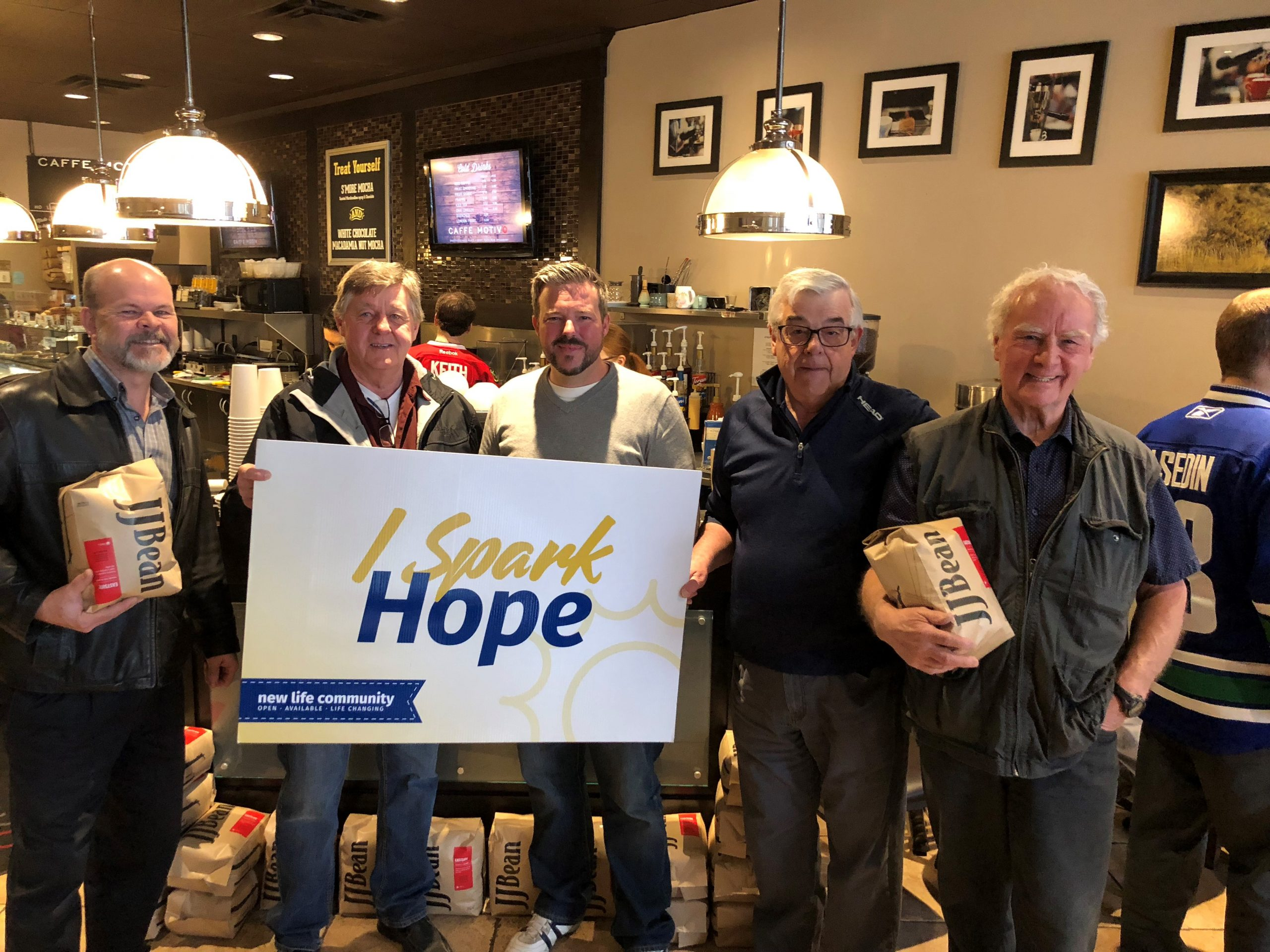 Caffe Motivo announcing 300 lb coffee donation to New Life Community Kamloops