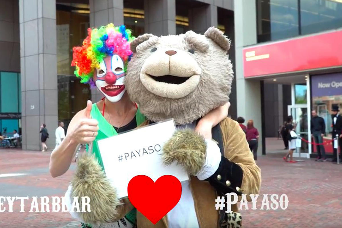(Boston, MA 091717) Pat Payaso and Keytar Bear. Photo Courtesy Pat Payaso