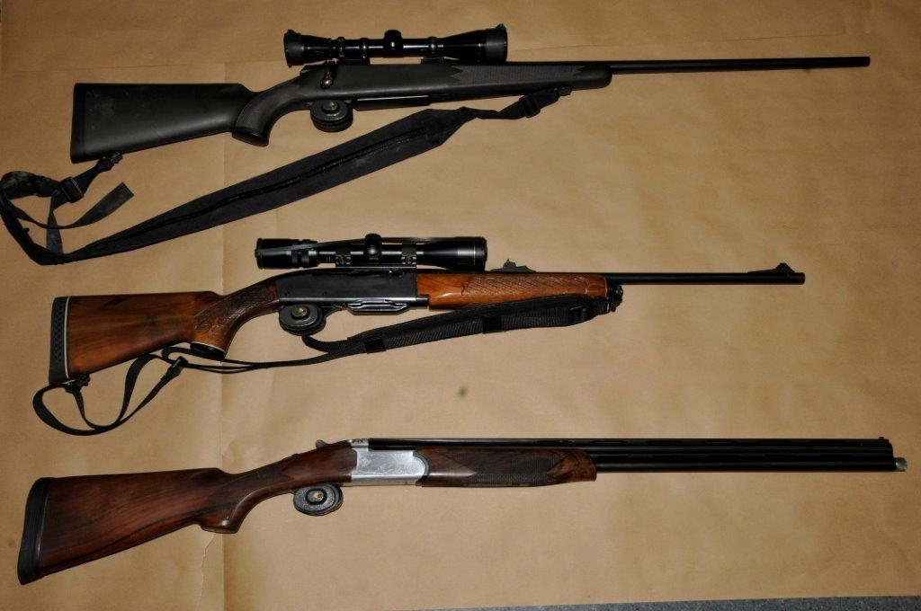 Two charged after guns seized in a search warrant
