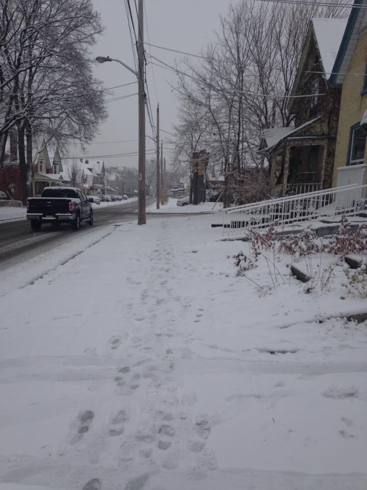 Clearing snowy sidewalks