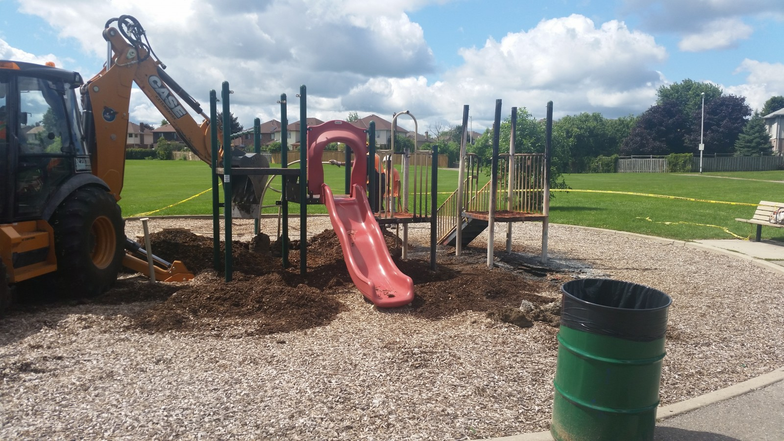 City cleans up burnt playset