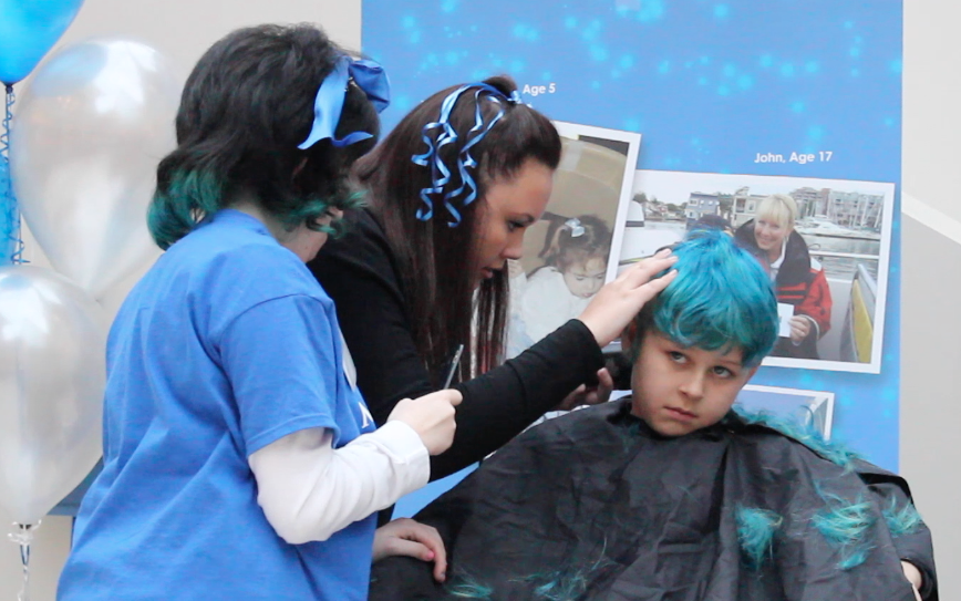 Young and old go blue and bald for charity