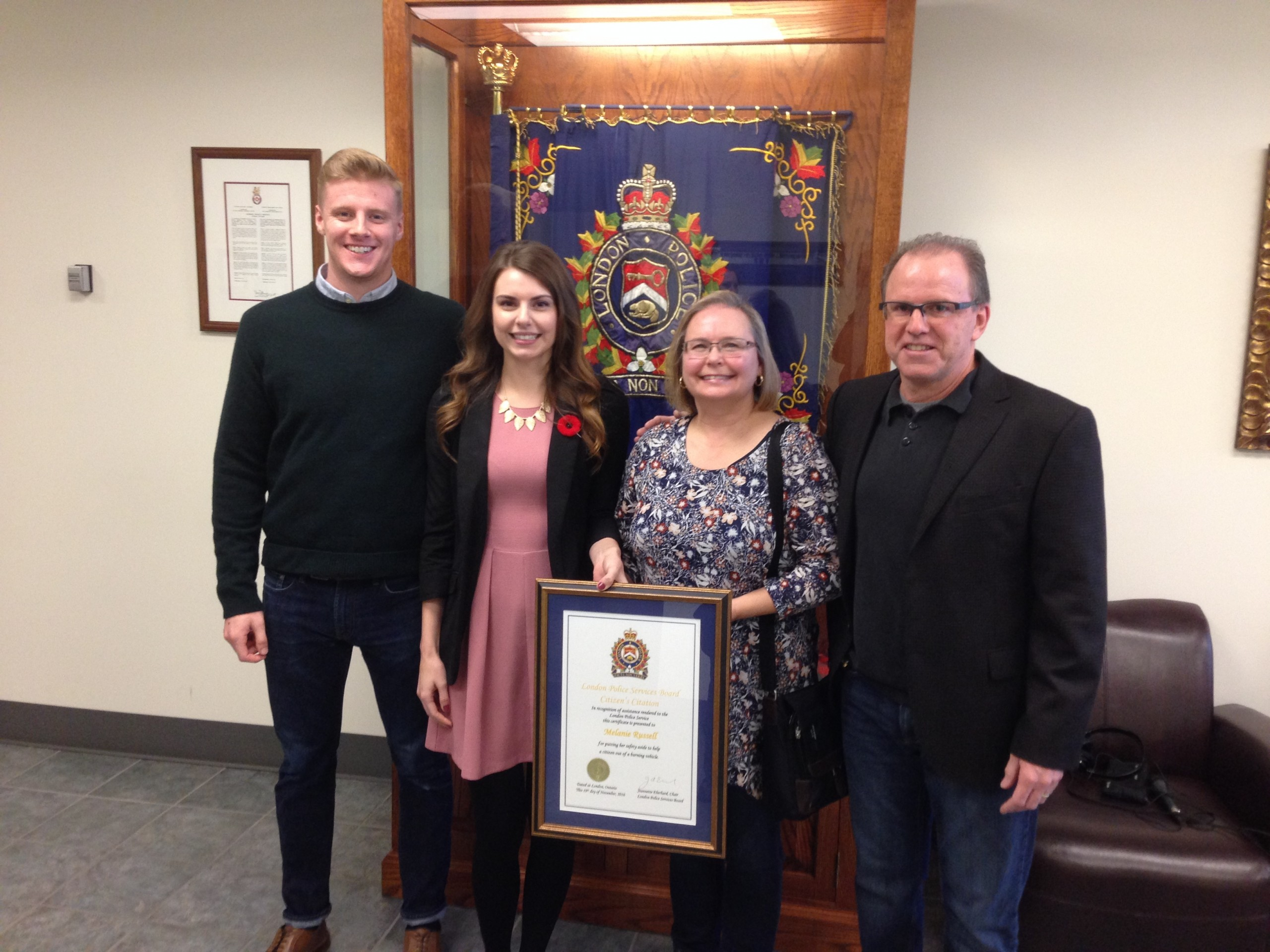 London Police award Western student with citizen citation for heroics in fiery crash