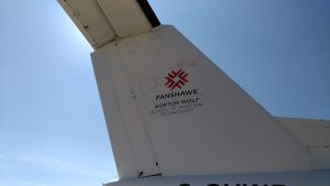 Fanshawe College's logo sits on the side of the newly donated Dash 7