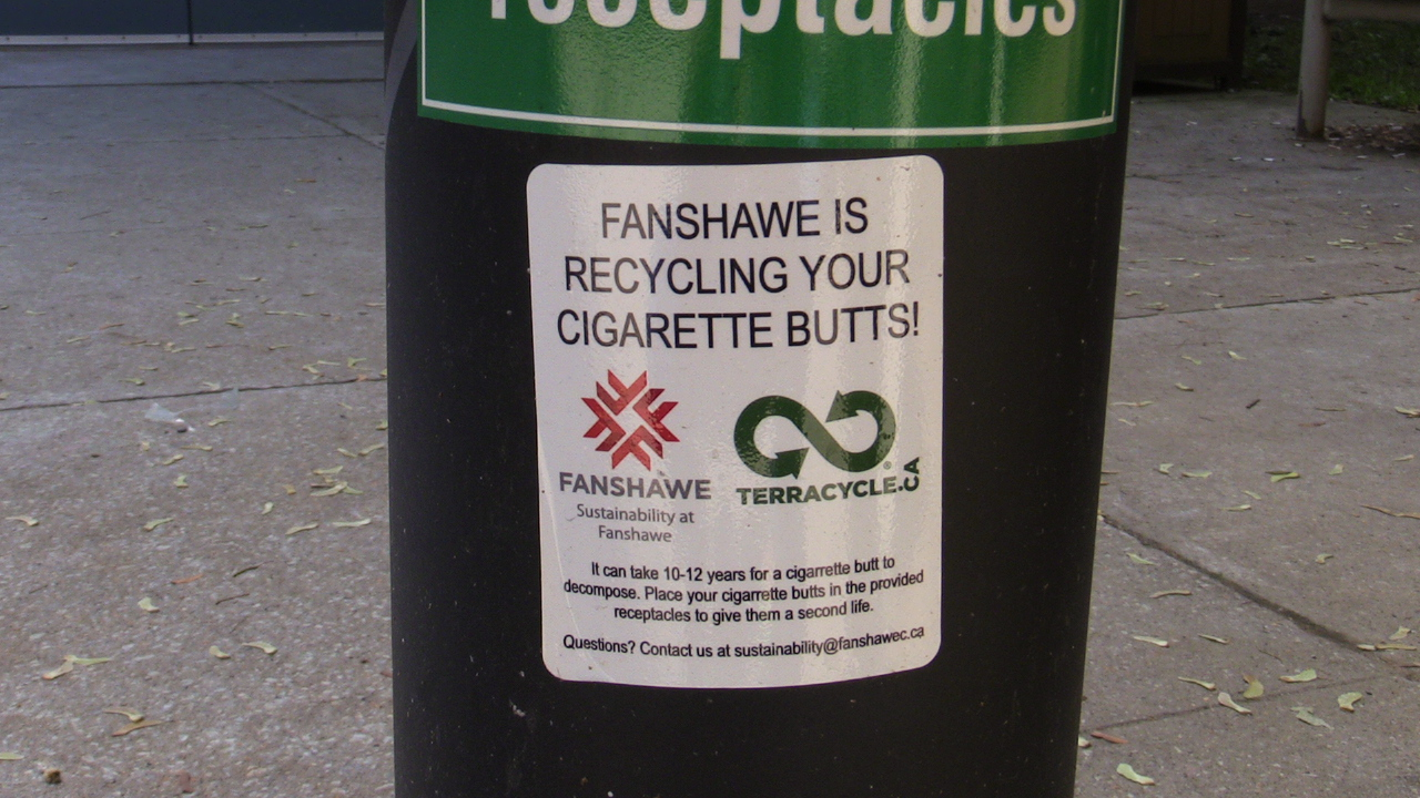 The TerraCycle initiative can be found on all receptacles across Fanshawe's main campus