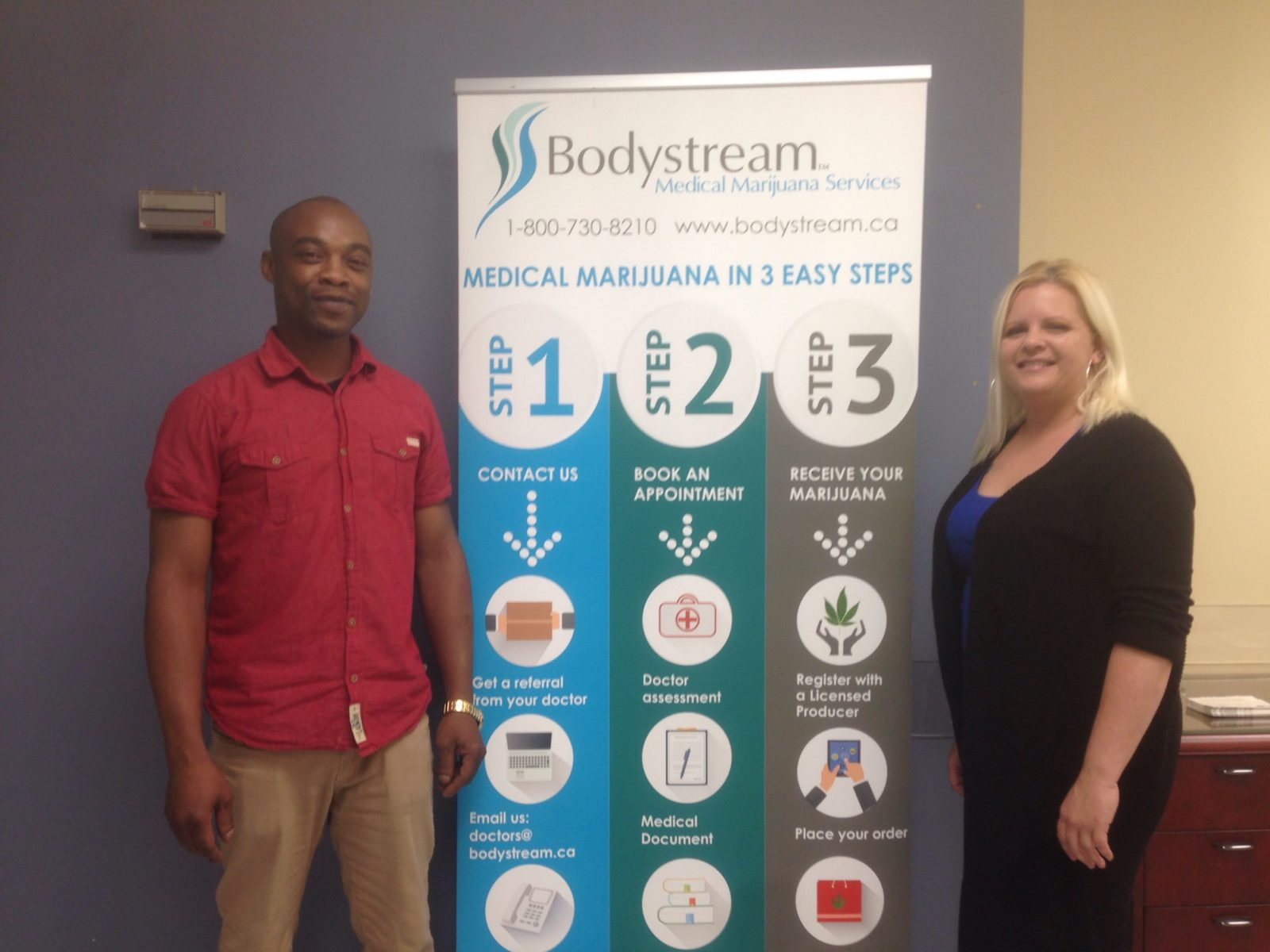 Dwight Simpson(left) is the Medical Administrator at Bodystream Medical Marijuana Services, Crystal Ramdharry(right) is the Patient Educator at Bodystream Medical Marijuana Services.
