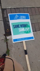 picket sign, fanshawe strike, education, strike, opseu