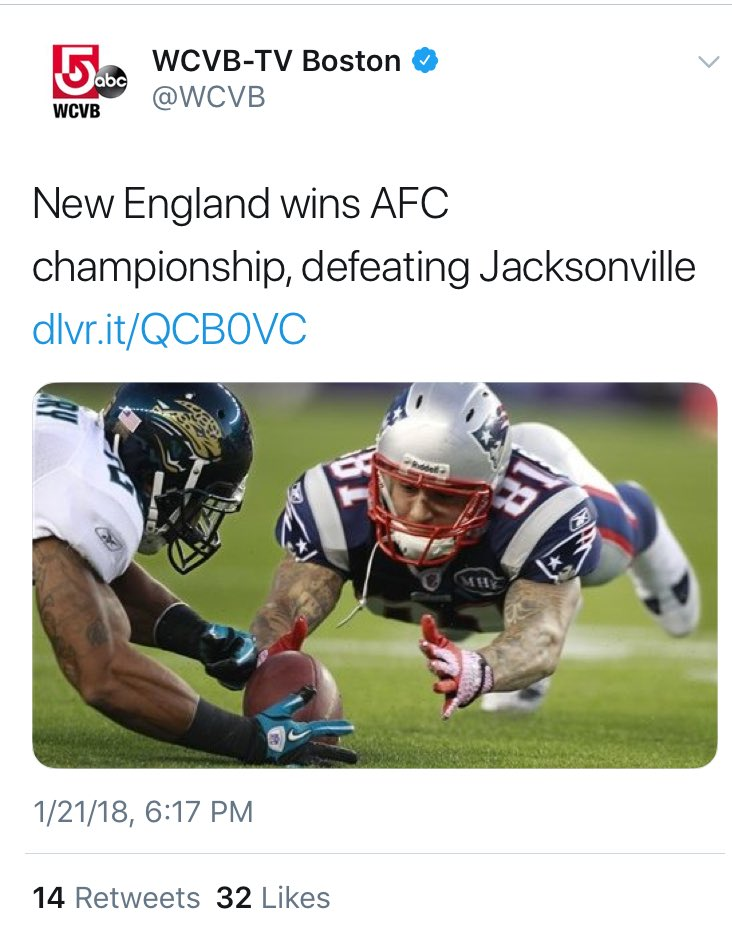 Boston TV station tries to celebrate a AFC Championship, instead celebrates a murderer.