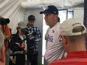 Nashville, TN May 12, 2017 - St. Thomas Sports Park Mike Mularkey addresses the media after OTAs. (Photo by Buck Reising ESPN Nashville)