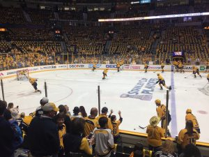 Fans stand on the glass during warmups prior to Game 4. (Photo credit: ESPN 102.5 The Game / Ryan Porth)