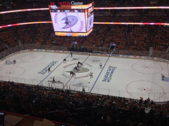 The crowd at puckdrop of Game 1 in Anaheim. (Photo credit: ESPN 102.5 The Game / Ryan Porth)