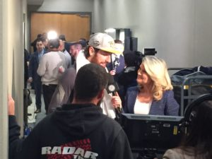 James Neal with Sportsnet's Christine Simpson following Game 1. (Photo credit: ESPN 102.5 The Game / Ryan Porth)