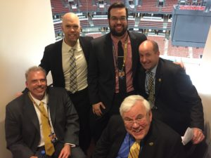 Predators Radio Network crew after Game 5. L to R: Darren McFarland, Chris Mason, Ryan Porth, Pete Weber, Willy Daunic. (Photo credit: ESPN 102.5 The Game)