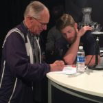 NBC's Doc Emrick with Preds forward Austin Watson. (Photo credit: ESPN 102.5 The Game / Ryan Porth)