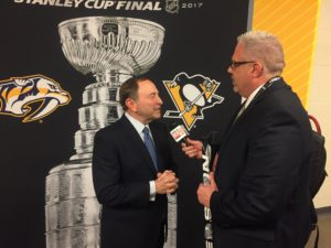 Darren McFarland interviews NHL Commissioner Gary Bettman prior to Game 1. (Photo credit: ESPN 102.5 The Game / Ryan Porth)