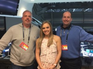 Darren McFarland and Willy Daunic with NHL Network's Jamie Hersch after her appearance on 3D. (Photo credit: ESPN 102.5 The Game / Ryan Porth)