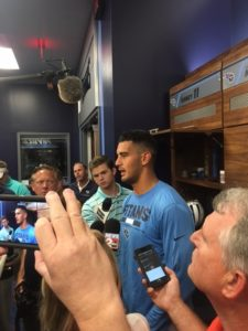 Nashville, TN - May 12, 2017 - St. Thomas Sports Park - Titans quarterback Marcus Mariota addresses the media following OTAs (Photo by Buck Reising ESPN Nashville)