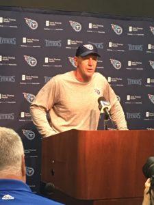 Nashville, TN - July 28, 2017 - St. Thomas Sports Park - Titans coach Mike Mularkey addresses the media (Photo by Buck Reising ESPN Nashville)
