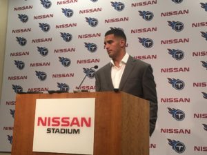 Nashville, TN - August 19, 2017 - Nissan Stadium - Marcus Mariota of the Tennessee Titans addresses the media after a preseason victory (Photo by Buck Reising, ESPN Nashville).