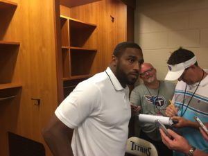 Nashville, TN - August 27, 2017 - Nissan Stadium - Wesley of the Tennessee Titans speaks with the media after a preseason loss (Photo by Buck Reising, ESPN Nashville).