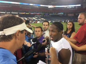 Nashville, TN - August 5, 2017 - Nissan Stadium - Titans rookie CB Adoree' Jackson (pictured) addresses the media (Photo by Buck Reising ESPN Nashville).