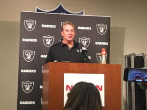 Nashville, TN - September 10, 2017 - Nissan Stadium - Coach Jack Del Rio of the Oakland Raiders addresses the media after a season-opening win. (Photo by Buck Reising, ESPN Nashville)
