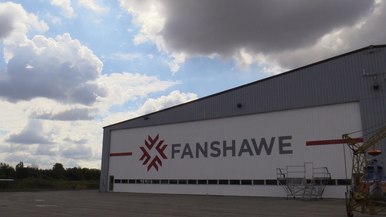 Fanshawe's hangar at Norton Wolf School of Aviation Technology