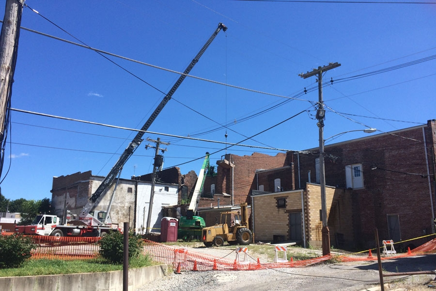 Demolition work continues on downtown buildings