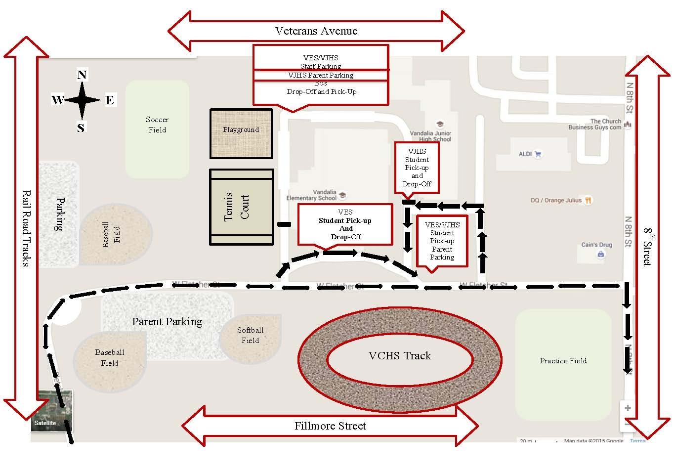 Traffic Flow map for Vandalia Jr High & Elem School areas