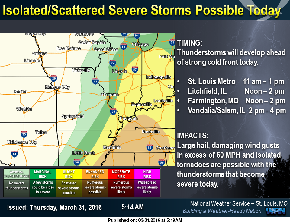 "Severe Storms possible today--NWS puts our area in ""Slight"" Risk"