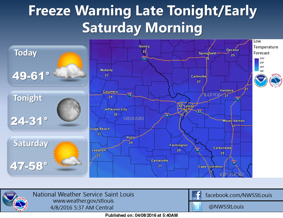 Freeze Warning in effect from 2 am to 8 am Saturday morning