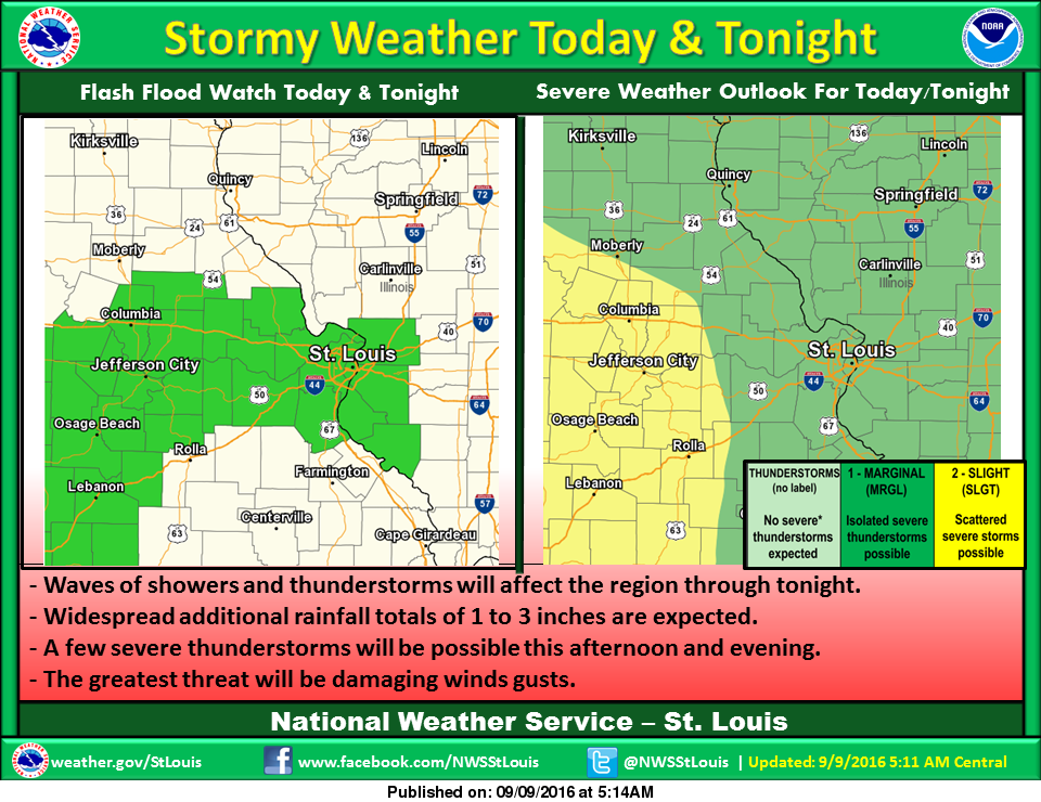 Heavy Rain and Strong to Severe Storms for today and tonight