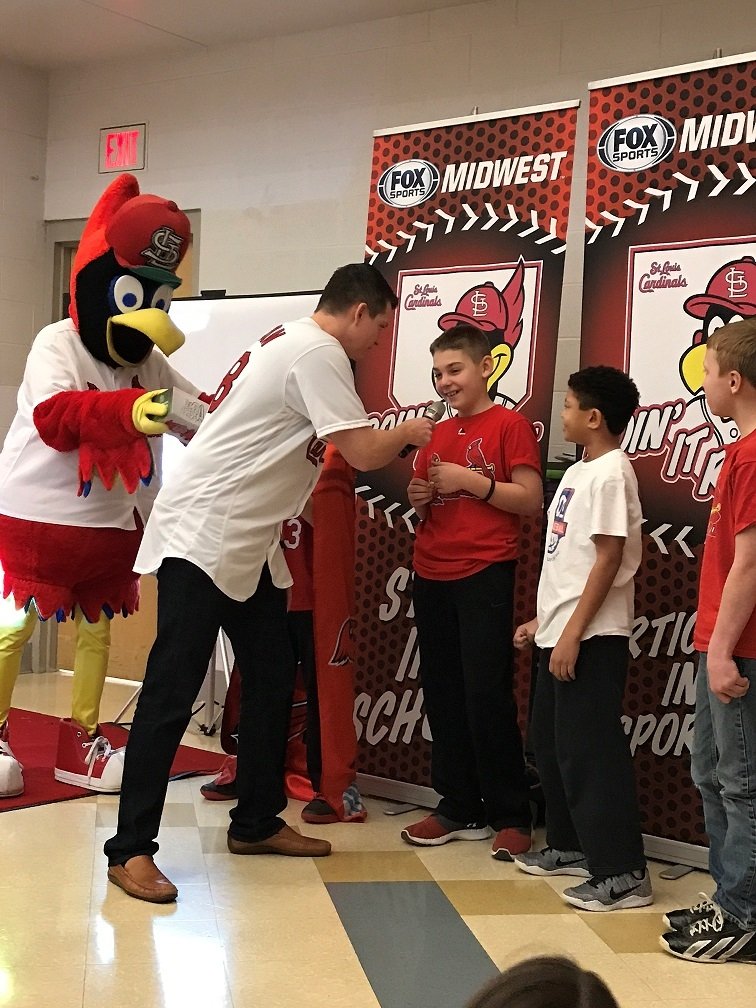 "VJHS gets visit from former Cards Pitcher and Fredbird for ""Doing It Right"" program"