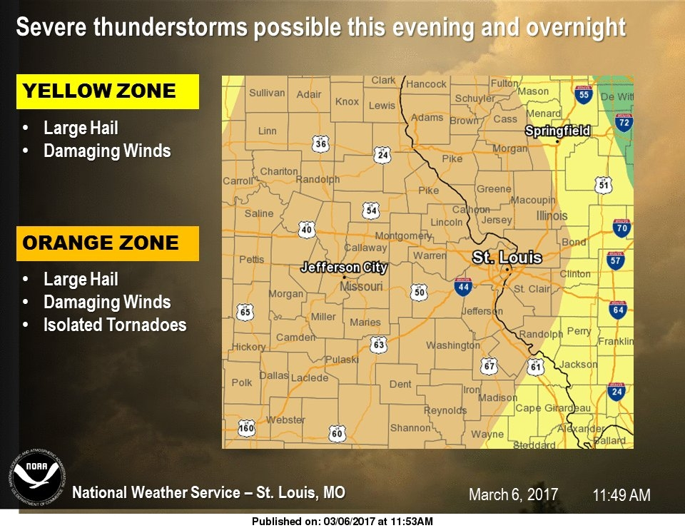 Latest Weather Map from NWS shows large hail, damaging winds for our area