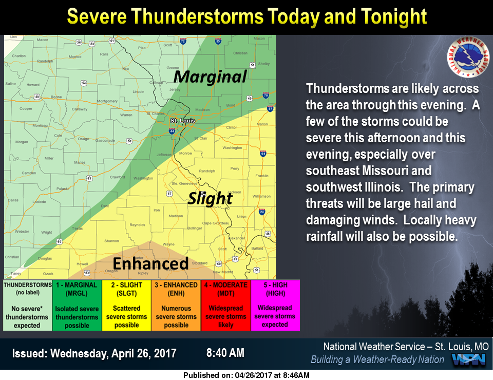 Latest Map from NWS shows threat of Severe Weather for the area this afternoon/evening