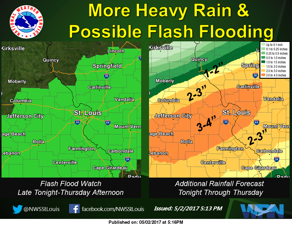 Rain today and Thursday, could see 2 to 3 inches of rain