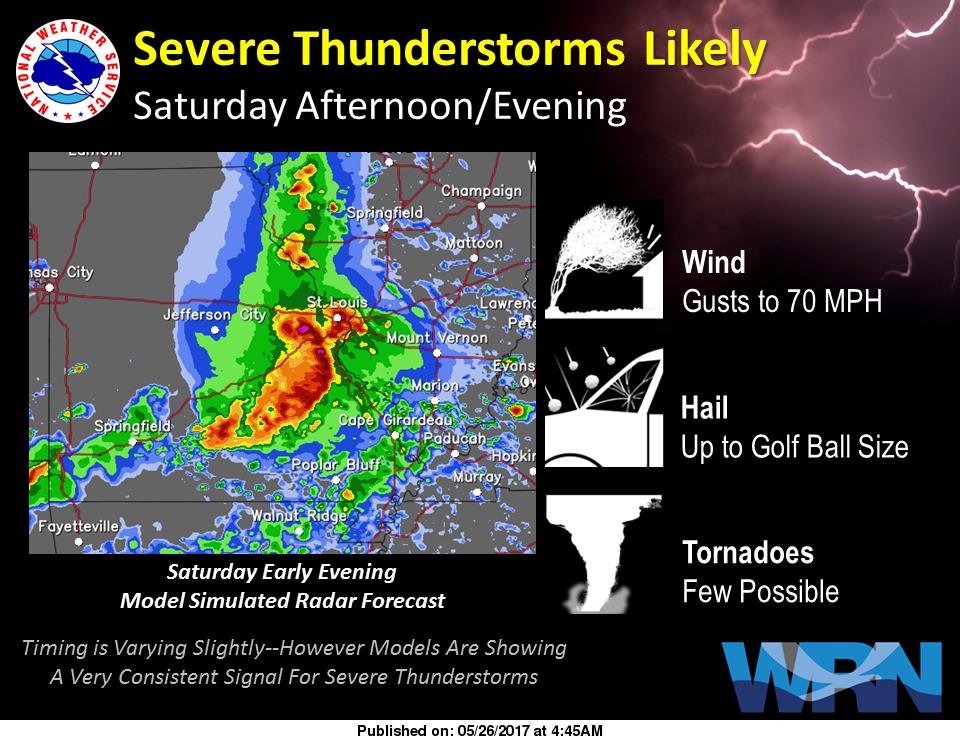 Updated weather information for Saturday afternoon/evening--Severe Storms expected
