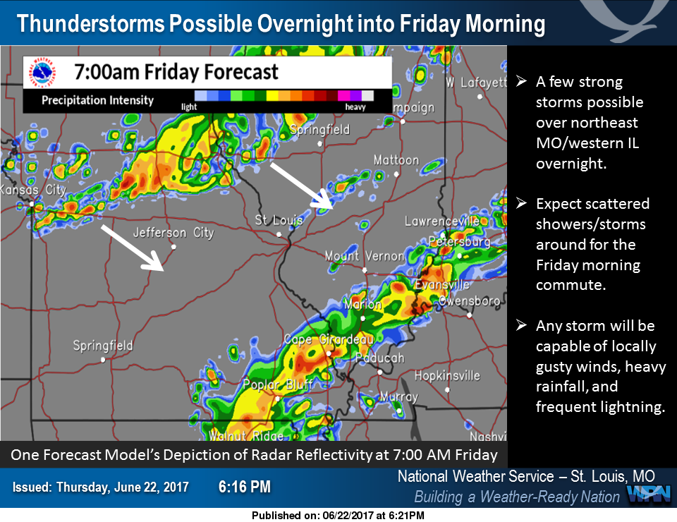 Thunderstorms possible this morning