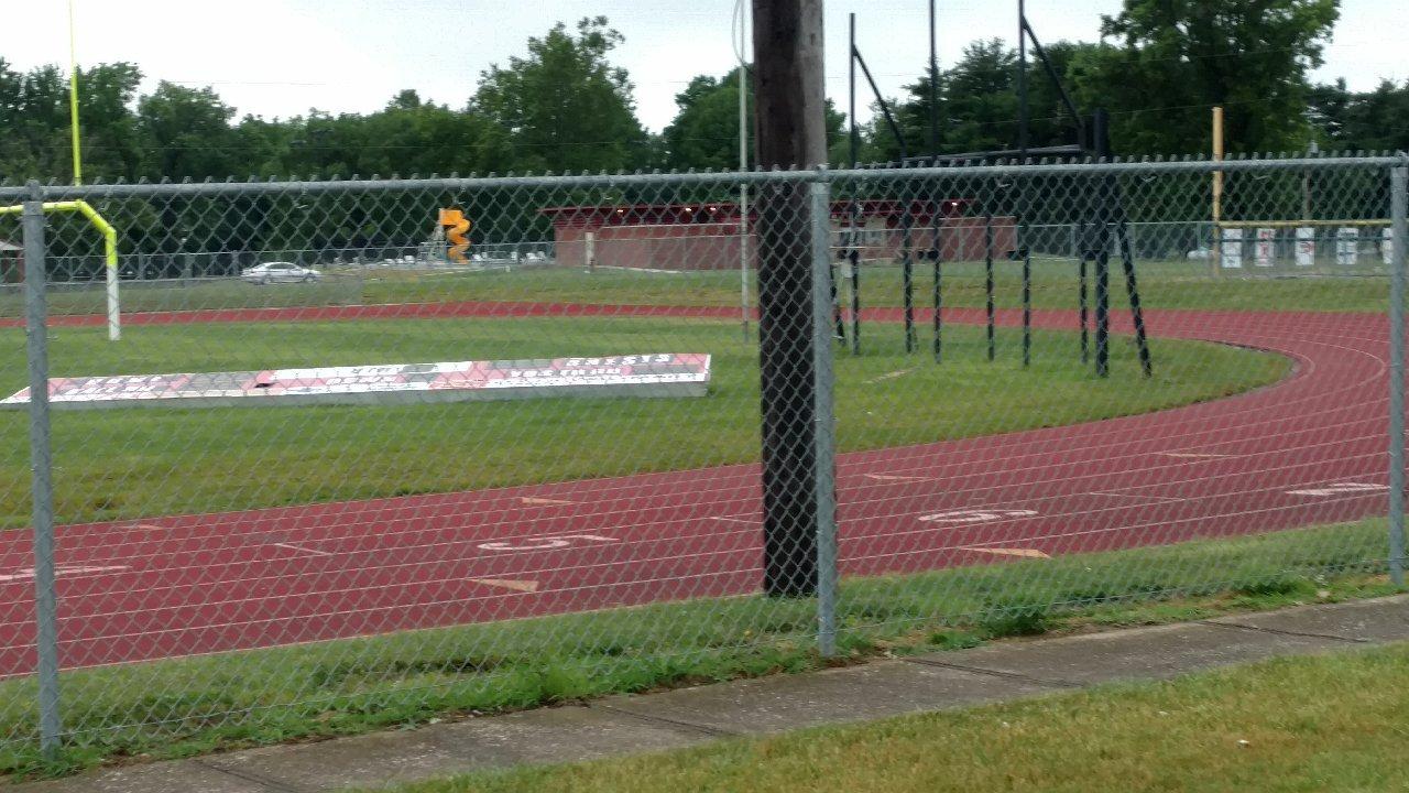 Mark Greer Field Scoreboard blown down in storm
