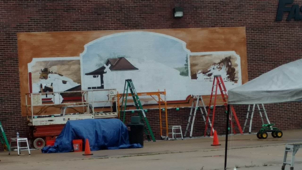 Work on Mural in downtown Vandalia continues today and tomorrow