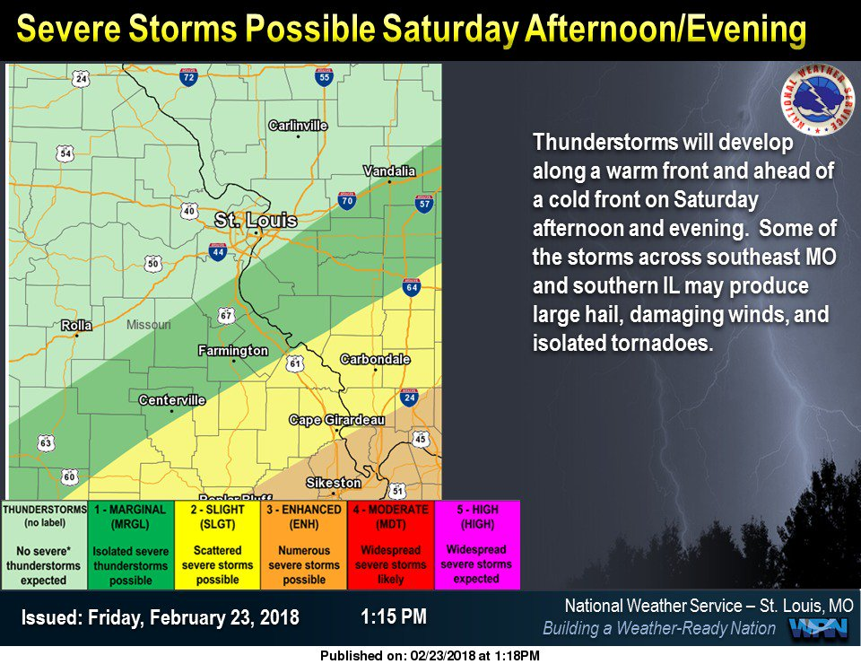 Strong to Severe Storms are possible Saturday evening