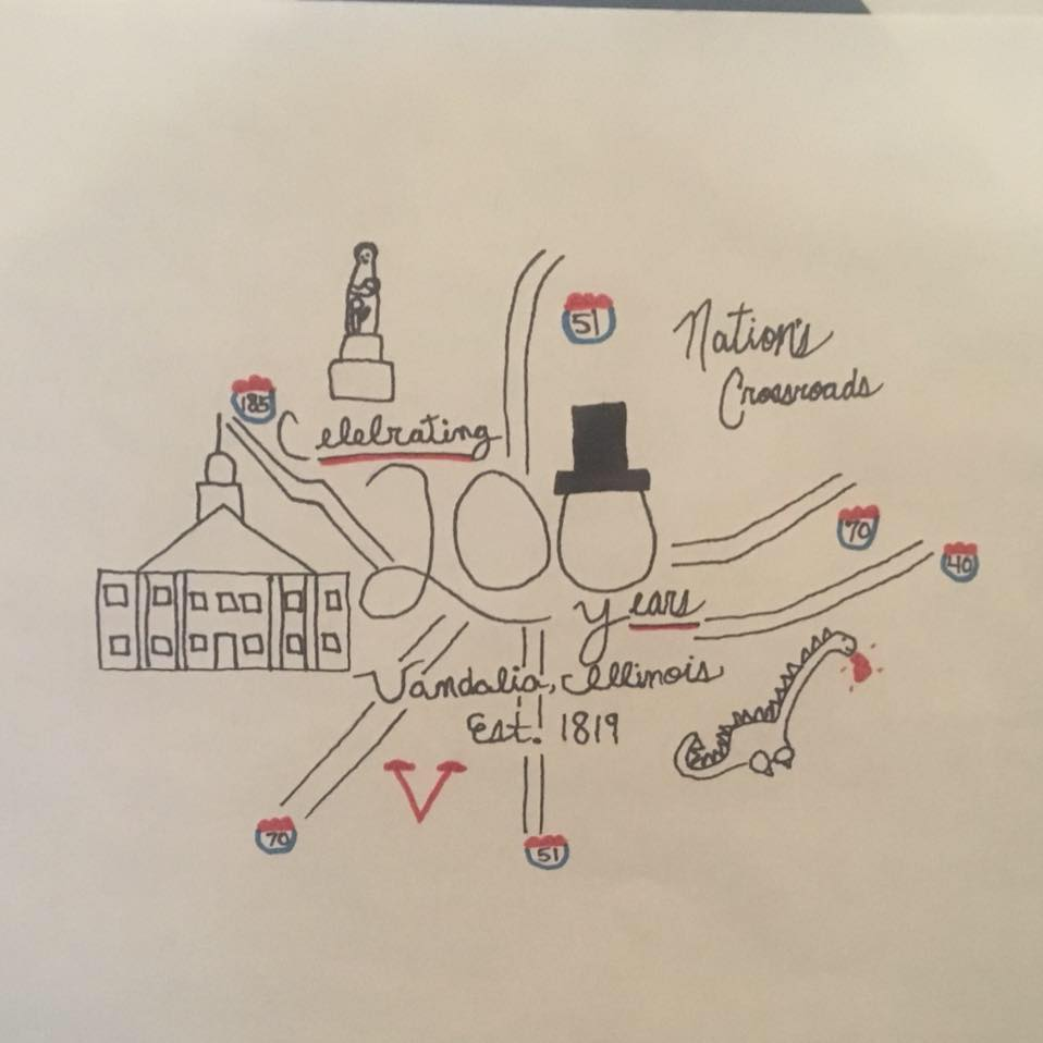 "Drawing by Leo Krueger selected as ""Family Friendly"" Logo for Vandalia Bicentennial"