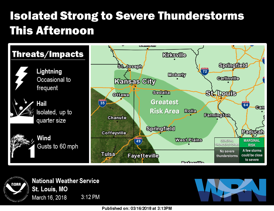 Area could see an Isolated Strong to Severe Storm This Evening/Tonight