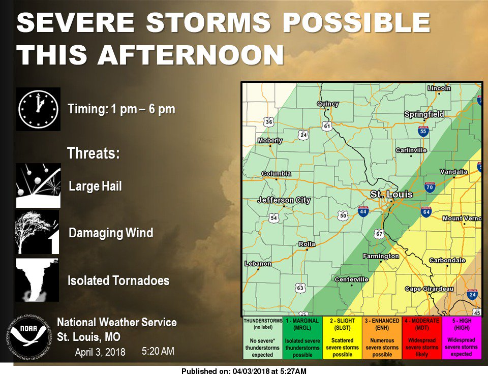 Severe Storms are Possible this afternoon/evening