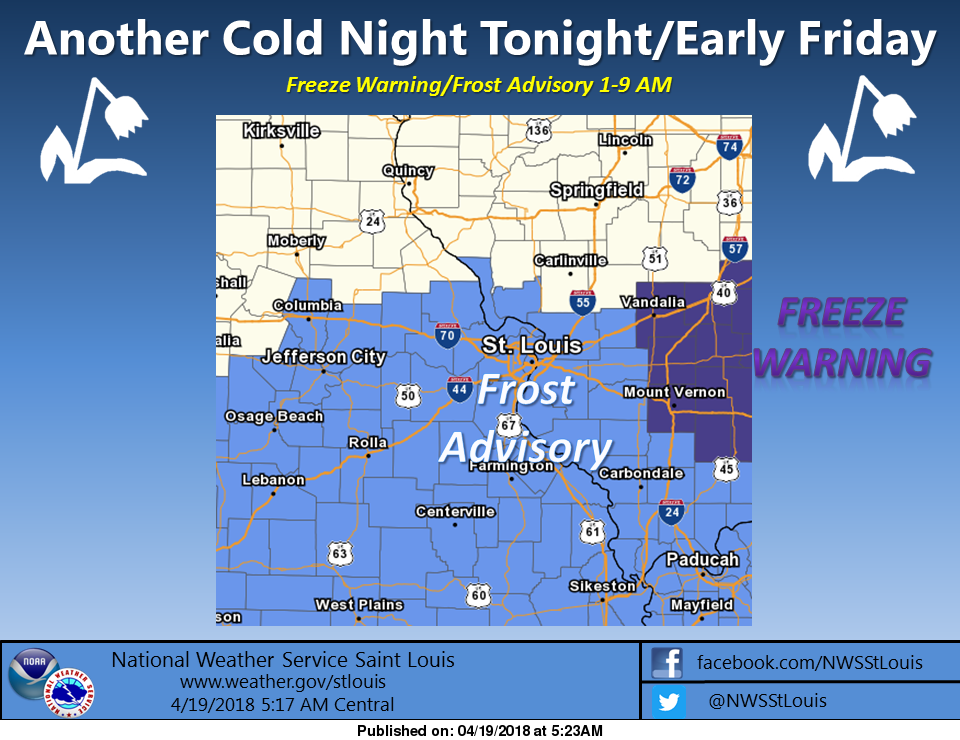 Freeze Warning from 1 am to 9 am Friday morning
