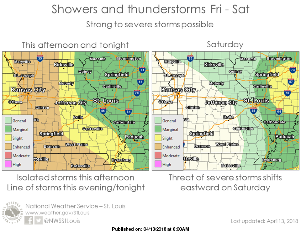 Strong to Severe Storms possible for tonight & Saturday afternoon