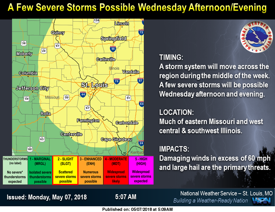 Sunny & Warm for the next 2 Days---Severe Storms are possible Wed & Wed night