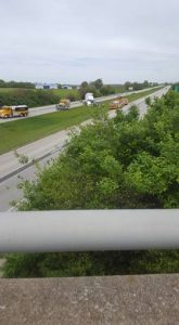 Photos taken and shared by listener Linda Gamble who was re-routed from I-57.