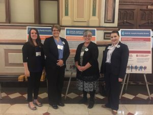 Representing the HSHS Southern Illinois Division hospitals at the Illinois Health and Hospital Association's (IHA) Quality Advocacy Showcase were (left to right) Allison Satterthwaite, Quality Facilitator, and Alyssa Eller, Director of Quality Improvement at HSHS Holy Family Hospital in Greenville; Lori Winter, Infection Preventionist at HSHS St. Anthony's Memorial Hospital in Effingham; and Stephanie Thannum, Infection Preventionist at HSHS St. Joseph's Hospital in Highland.